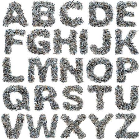 tuercas y tornillos: Notas hechas de tornillos en el fondo blanco