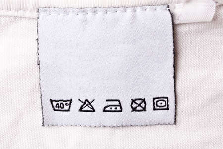 Label with laundry care symbols photo