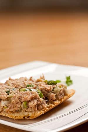 tunafish: Tuna-fish sandwich served on plate
