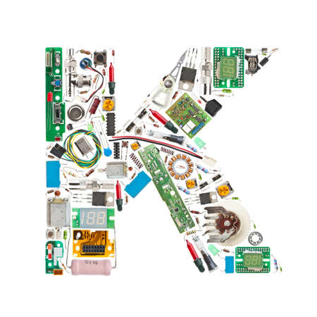 diodes: Letter K made of electronic components isolated in white background