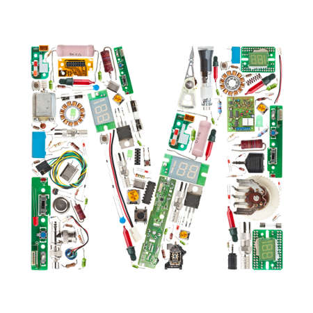 Letter M made of electronic components isolated in white background Stock Photo