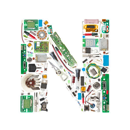 Letter 'N' made of electronic components isolated in white background