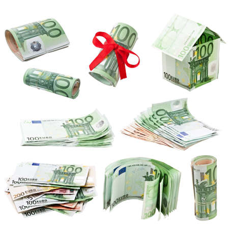 euromoney: Collection of money isolated on white background  Stock Photo