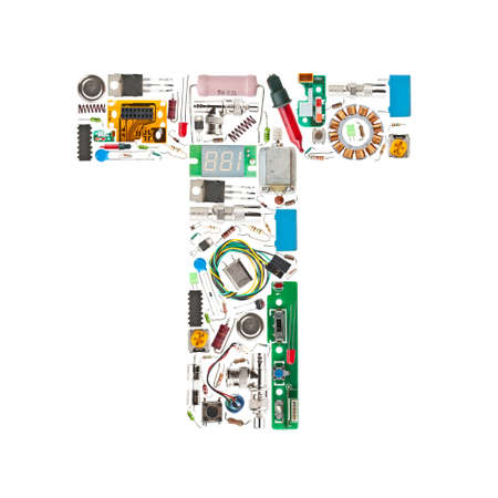 micro chip: Letter T made of electronic components isolated in white background