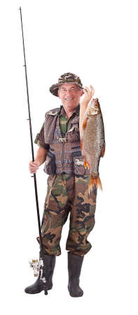 fishing gear: Senior fisherman with his catch, isolated on white  Stock Photo