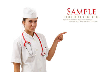 Young medical doctor woman presenting and showing copy space for product or text in white Stock Photo - 13923347