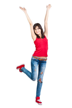 Pretty teenager girl with hands up, isolated Stock Photo - 13923369