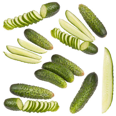 Collection of cucumber isolated on white Stock Photo - 14386547