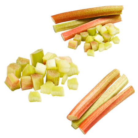Collection of rhubarb isolated on white background  photo