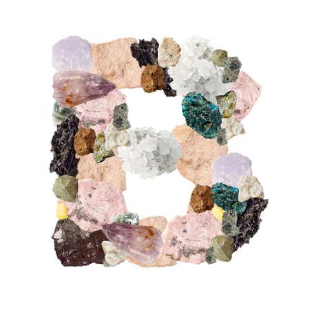Minerales alfabeto aislado en blanco Letra B fondo
