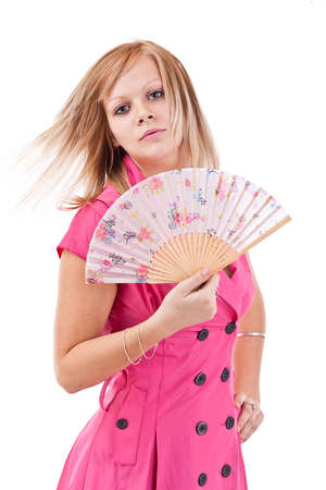 Pretty woman with Chinese fan, isolated on white photo
