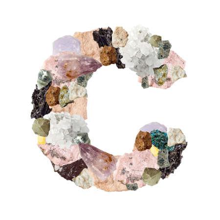 Minerales alfabeto aislado sobre fondo blanco Letra C