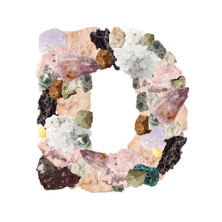 Minerales alfabeto aislado sobre fondo blanco Letra D Foto de archivo