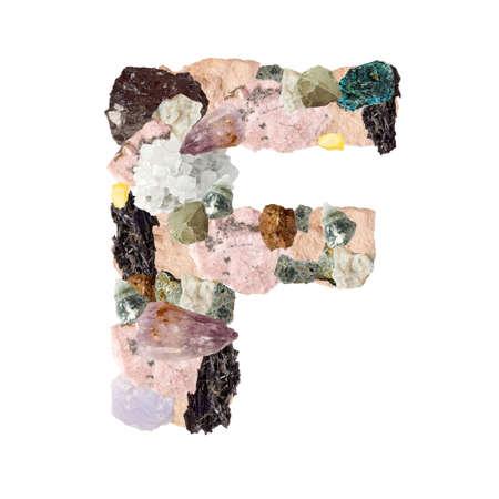 Minerales alfabeto aislado en blanco Letra F de fondo
