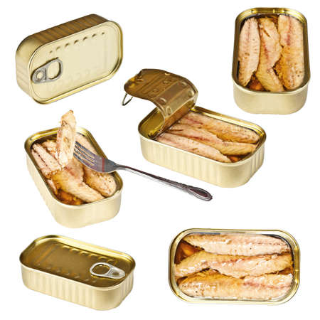 Collection of tin can whit mackerel isolated on white  photo