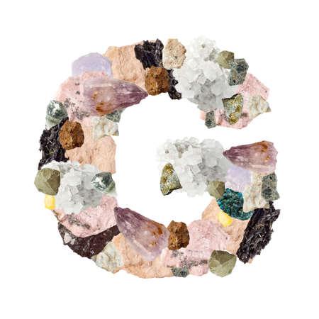 Minerales alfabeto aislado sobre fondo blanco Letra G