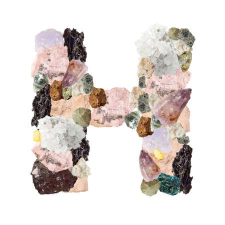 Minerales alfabeto aislado sobre fondo blanco Letra H Foto de archivo
