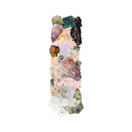 aragonite: Minerales alphabet isolated on white background Letter I