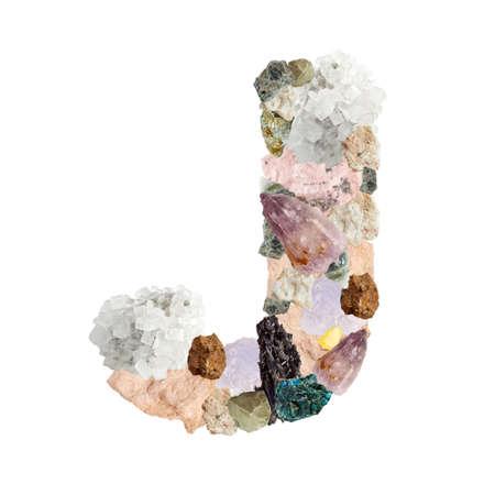 Minerales alfabeto aislado en blanco Letra J fondo