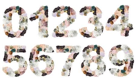 Números hechos de Minerales aislado en blanco Foto de archivo