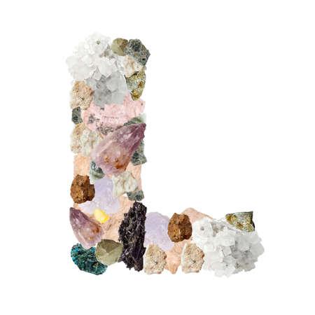 Minerales alfabeto aislado en blanco Letra L de fondo Foto de archivo