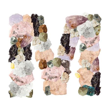 Minerales alfabeto aislado en blanco Letra M fondo