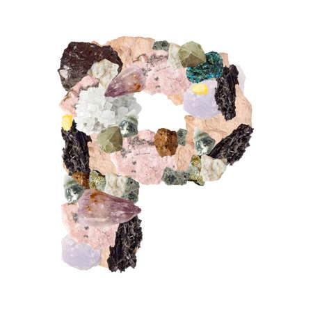 Minerales alfabeto aislado en blanco Letra P fondo