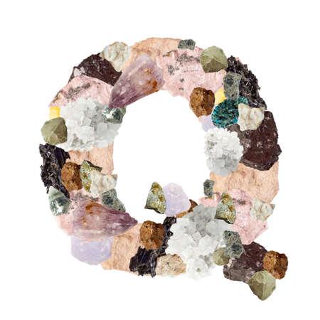 Minerales alfabeto aislado sobre fondo blanco Letra Q Foto de archivo