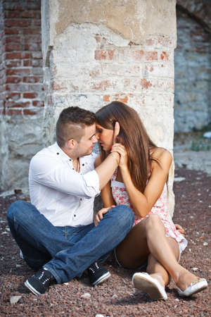 love kissing: Young couple lost in love, kissing