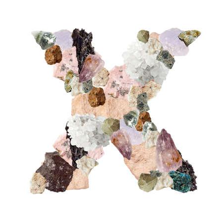 Minerales alfabeto aislado en blanco X Carta fondo Foto de archivo