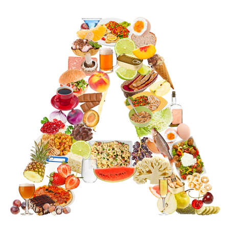 Letter A made of food isolated on white background photo