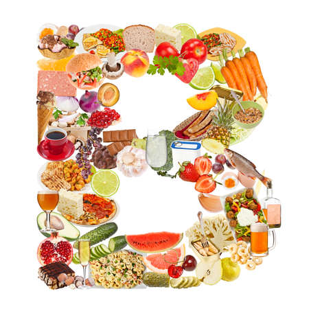 Letter B made of food isolated on white background photo