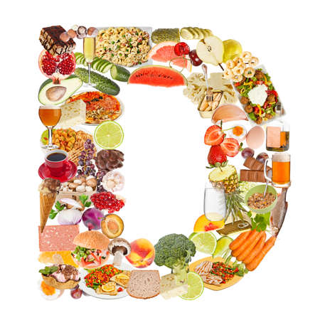 Letter D made of food isolated on white background photo