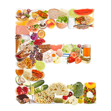 Letter E made of food isolated on white background photo
