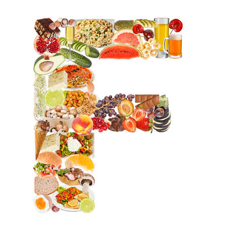 alphabet beer: Letter F made of food isolated on white background Stock Photo