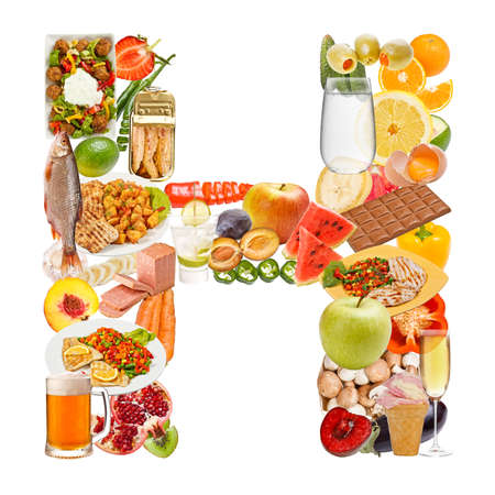 Letter H made of food isolated on white background photo