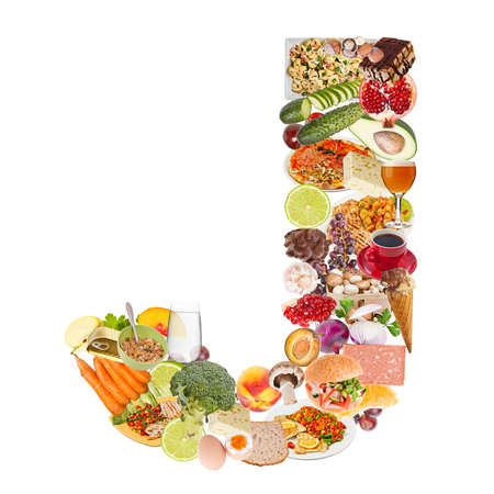 Letter J made of food isolated on white background photo