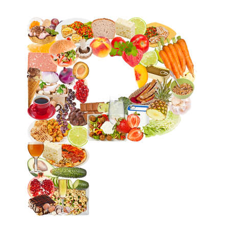 Letter P made of food isolated on white background photo