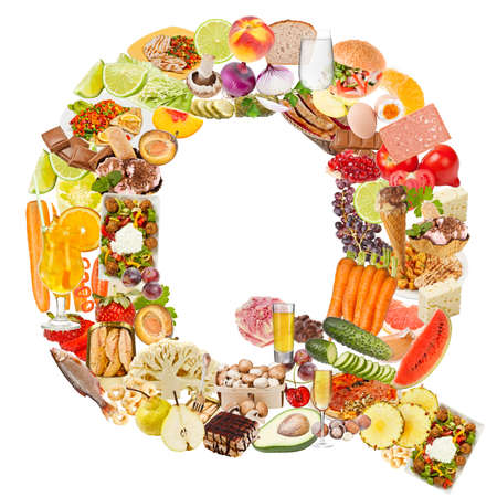 Letter Q made of food isolated on white background photo