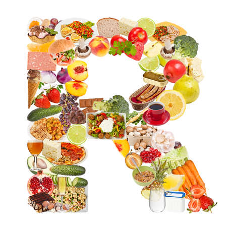 collage alphabet: Letter R made of food isolated on white background Stock Photo