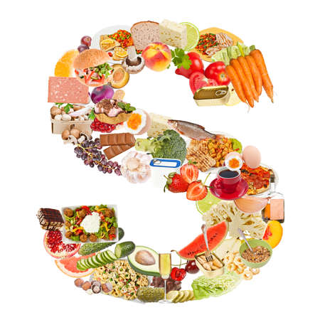 Letter S made of food isolated on white background photo
