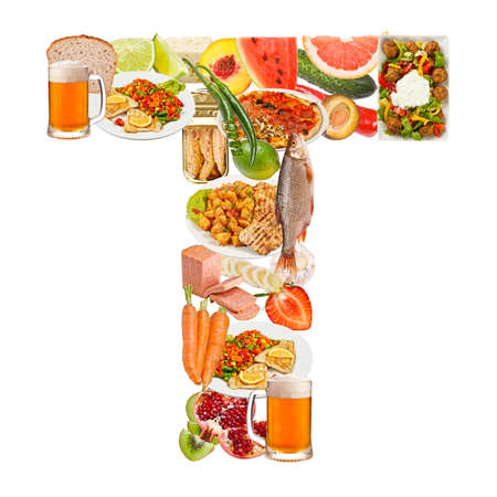 collage alphabet: Letter T made of food isolated on white background