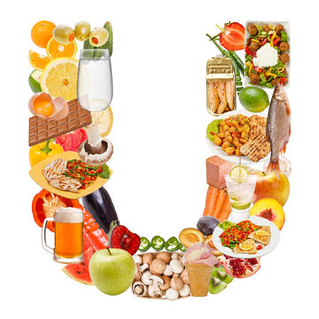 Letter U made of food isolated on white background photo