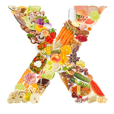 Letter X made of food isolated on white background photo