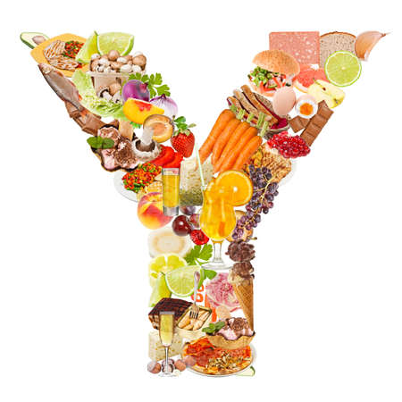 Letter Y made of food isolated on white background photo