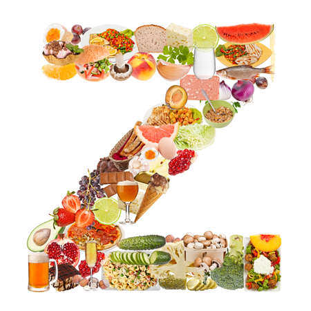 Letter Z made of food isolated on white background photo