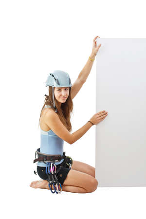 Climbing woman holding a banner  photo