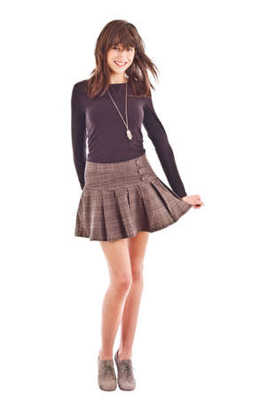 outfits: Girl in skirt isolated on white background