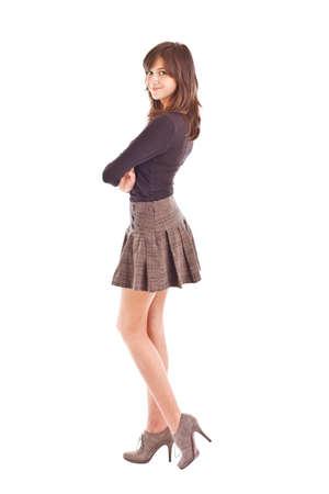 Teenage girl posing w krótkiej spódnicy
