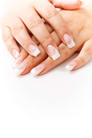 French manicure whit small stones photo